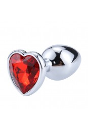 Plug bijou coeur en aluminium. Bijou rouge Small - RY-013RED