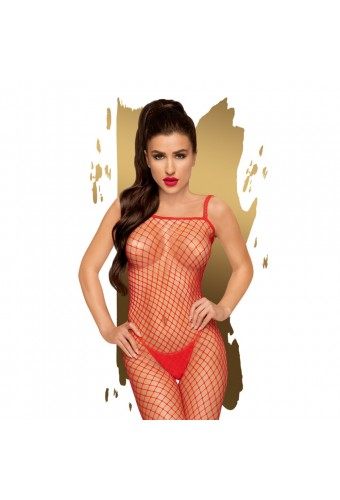 Bodystocking ouvert à l'entrejambe Rouge Body search - PH0089RED