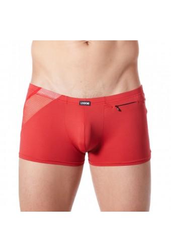 Boxer rouge sexy avec bandes fine résille et déco zippée