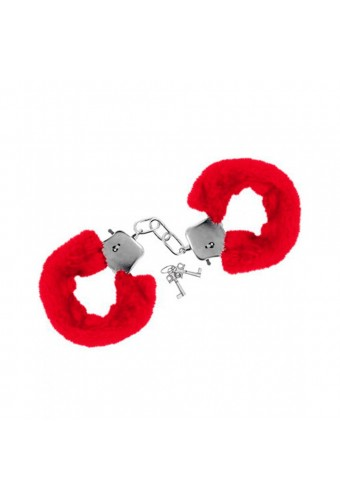 Menottes fourrure rouges de poignets avec sécurité