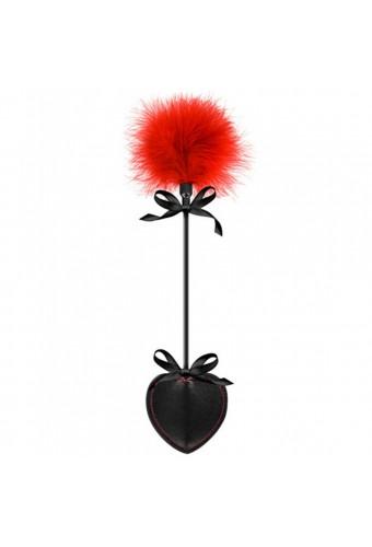 Cravache coeur noire bdsm avec plumeau rouge