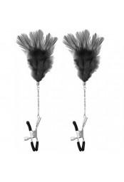 Pinces à seins pression réglable plumes noires