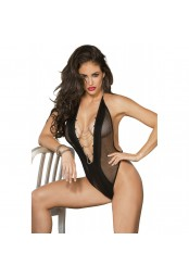 Body string noir filet et simili cuir
