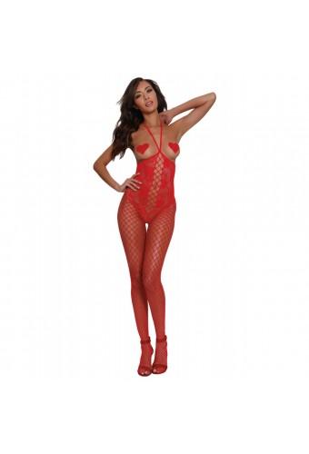 Bodystocking rouge seins nus effet bustier