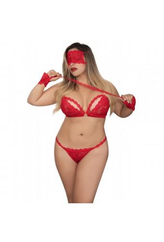 Ensemble dentelle rouge grande taille masque et menottes - MAL8218XRED